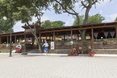 Khutorok restaurant on the Gorky embankment in the resort town o. Evpatoria, Crimea, Russia - June 29, 2018: Khutorok restaurant on the Gorky embankment in the royalty free stock photos