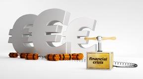 Evro e crisi finanziaria Fotografie Stock Libere da Diritti