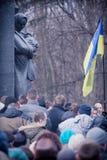 Evromaydan raduna gli attivisti in Ucraina Fotografie Stock
