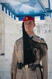 Evzone żołnierz w frontowym parlamencie Ateny obraz royalty free