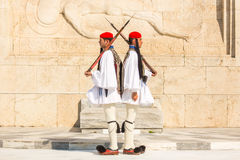 Evzone guarding the Tomb of the Unknown Soldier in Athens dressed in full dress uniform Royalty Free Stock Image