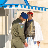 Evzone guarding the Tomb of the Unknown Soldier in Athens dressed in full dress uniform Stock Image