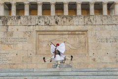 Evzone guarding the Tomb of the Unknown Soldier in Athens dressed in full dress uniform Stock Images