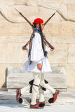 Evzone guarding the Tomb of the Unknown Soldier in Athens dressed in full dress uniform Royalty Free Stock Photography