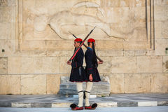 Evzone guarding the Tomb of Unknown Soldier in Athens dressed in service uniform Royalty Free Stock Image