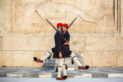 Evzone guarding the Tomb of Unknown Soldier in Athens dressed in service uniform Royalty Free Stock Photo