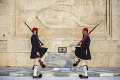Evzone guarding the Tomb of Unknown Soldier in Athens dressed in service uniform Stock Photography