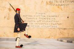Evzone guarding the Tomb of the Unknown Soldier in Athens dressed in service uniform, refers to the members of the Presidential G Stock Image