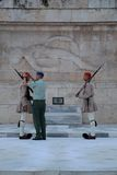 Evzone Guarding the Tomb of the Unknown Soldier, Athens, Greece Royalty Free Stock Photo