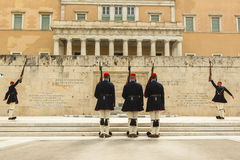 Evzone guarding the Tomb of the Unknown Soldier in Athens Royalty Free Stock Images