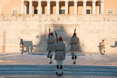 Free Evzone Guards The Tomb Of The Unknown Soldier On August 4, 2013 In Athens, Greece. Royalty Free Stock Image - 37991076