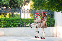 Evzone guards the Tomb of the Unknown Soldier on August 4, 2013 in Athens, Greece. Stock Images