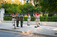 Evzone guards the Tomb of the Unknown Soldier on August 4, 2013 in Athens, Greece. Stock Photography