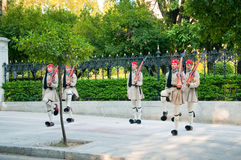 Evzone guards the Tomb of the Unknown Soldier on August 4, 2013 in Athens, Greece. Royalty Free Stock Photo