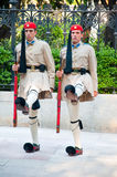 Evzone guards the Tomb of the Unknown Soldier on August 4, 2013 in Athens, Greece. Royalty Free Stock Image