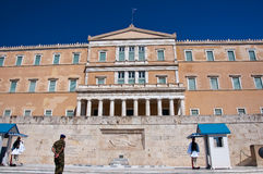 Evzone guards the Tomb of the Unknown Soldier on August 4, 2013 in Athens, Greece. Royalty Free Stock Images