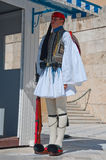 Evzone guards the Tomb of the Unknown Soldier on August 4, 2013 in Athens, Greece. Stock Image