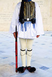Evzone guards Tomb of the Unknown Soldier. Evzone at Sintagma, Athens, instagram look Royalty Free Stock Image