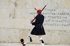Evzone voor het Helleense Parlement Stock Foto
