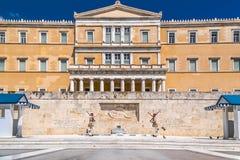 Evzones in Athen, Griechenland Stockfotografie
