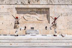 Evzones in Athen, Griechenland Stockfoto