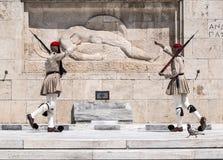 Evzones in Athen, Griechenland Stockbild