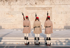 Evzones soldiers marching in Athens, Greece Royalty Free Stock Photo