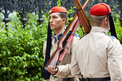Evzones. ATHENS, GREECE - OCTOBER 04, 2014: Evzone(presidential ceremonial guards) guarding the Tomb of the Unknown Soldier at the Hellenic Parliament Building Stock Photo