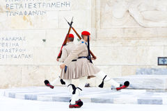 Evzones. ATHENS, GREECE - OCTOBER 04, 2014: Evzone(presidential ceremonial guards) guarding the Tomb of the Unknown Soldier at the Hellenic Parliament Building Royalty Free Stock Photos
