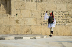 Evzones. An Evzone guard marching in front of parliament building in Athens, Greece Royalty Free Stock Photography