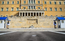 Evzones. Evzone guards standing in front of greek parliament in Athens, Greece Stock Images