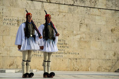 Evzones. Evzone guards standing in front of greek parliament building in Athens, Greece Stock Images
