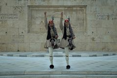 Evzones Guarding Tomb of the Unknown Soldier, Athens, Greece Royalty Free Stock Image