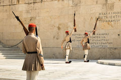 Evzones, members of the greek presidential guard, which guards the greek tomb of the unknown soldier. Royalty Free Stock Photos
