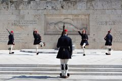Evzones - presidential ceremonial guards in the Tomb of the Unknown Soldier at the Greek Parliamen, Stock Photos