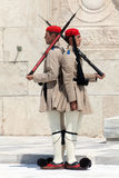 Evzones (presidential guards) stock images