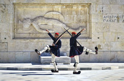 Evzones soldiers in Athens Greece Stock Photos