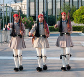 Evzones soldiers marching in Athens, Greece Stock Image