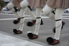 Evzones standing guard in front of the Parliament in Athens. Stock Images