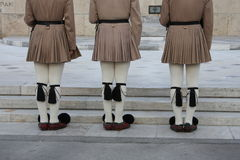 Evzones standing guard in front of the Parliament in Athens. Royalty Free Stock Photos