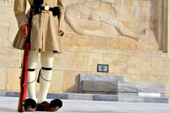 Evzoni Guard. Guardian in front of the Greek parliament building, Athens, Greece stock image