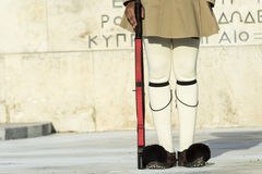 Evzoni guard. Under greek parliament Royalty Free Stock Photography
