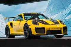 Ew Porsche 911 GT2 RS sports car. FRANKFURT, GERMANY - SEP 12, 2017: New Porsche 911 GT2 RS sports car showcased at the Frankfurt IAA Motor Show 2017 Stock Image