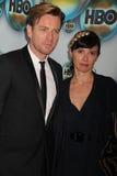 Ewan McGregor y esposa en el partido 2012 del poste del Golden Globe Awards de HBO, Beverly Hilton Hotel, Beverly Hills, CA 01-15- Fotos de archivo