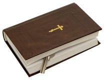 Ewangelia z kluczem na białym tle. Fotografia obraz royalty free