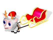 The ewe harnessed in Santa Claus's sledge Royalty Free Stock Image