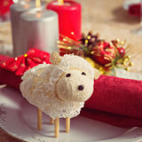 Ewe on New Year's table Royalty Free Stock Photos