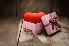 Jewelry ring on top heart in the gift box. For give to special one in valentines day stock image