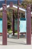 Ewidencyjni panel przy wejściem Waikoropupu Skaczą, Nowa Zelandia obrazy royalty free