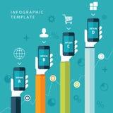 Ewidencyjny graficzny szablon z rękami trzyma telefony dla marketingowego planu, sprzedaże sporządza mapę Fotografia Stock